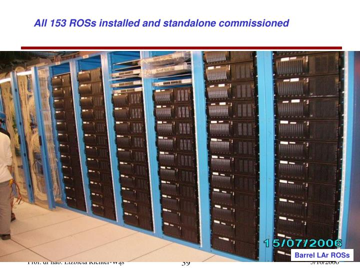All 153 ROSs installed and standalone commissioned
