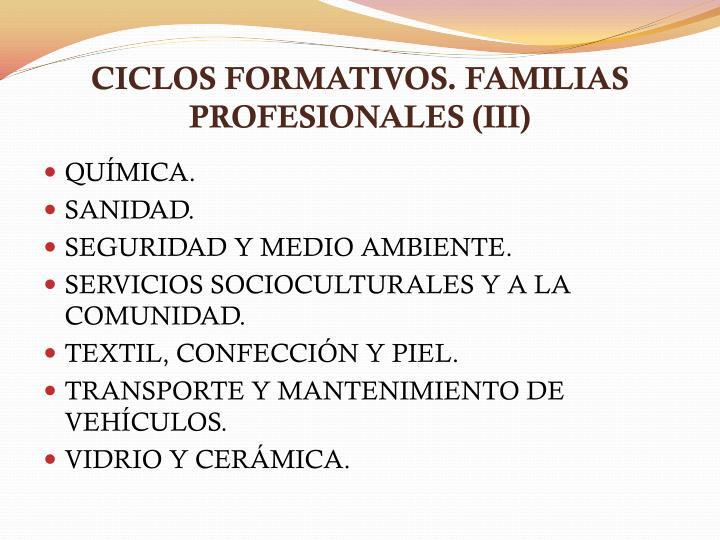 CICLOS FORMATIVOS. FAMILIAS PROFESIONALES (III)