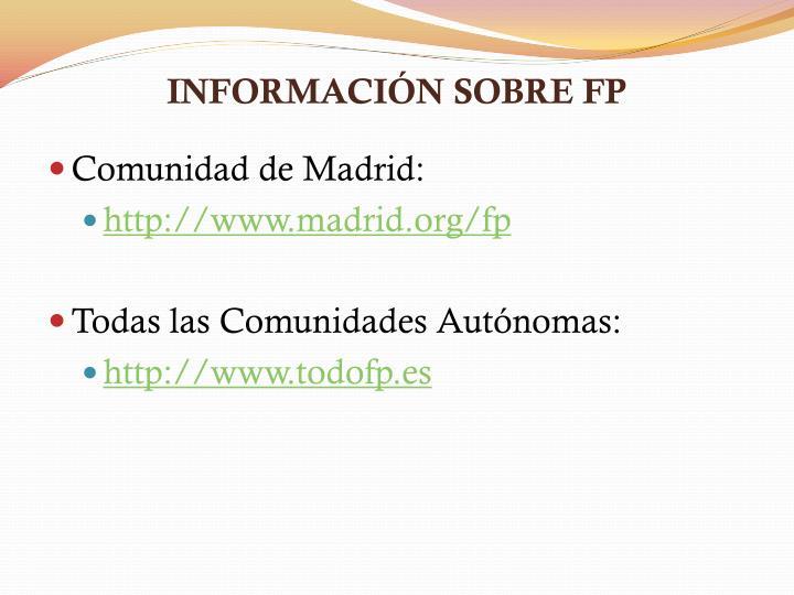 INFORMACIÓN SOBRE FP