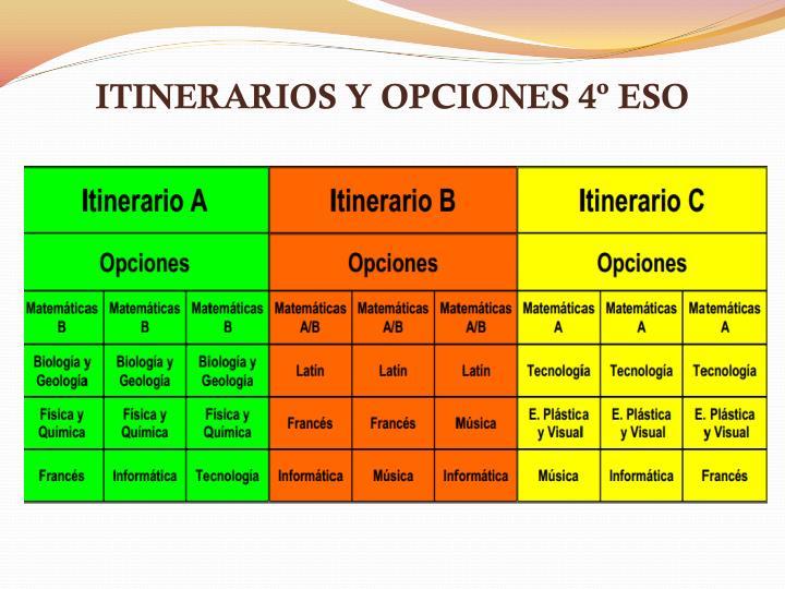 ITINERARIOS Y OPCIONES 4º ESO