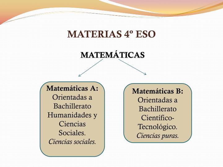 MATERIAS 4º ESO