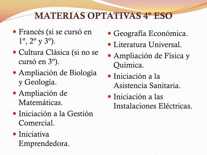 MATERIAS OPTATIVAS 4º ESO