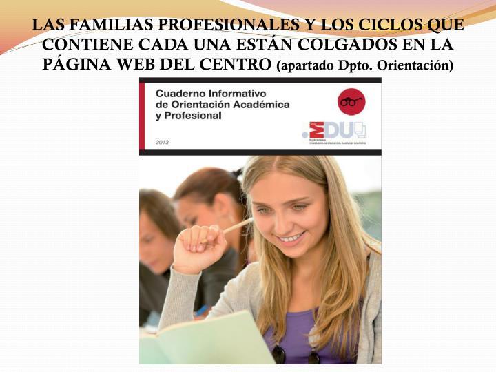 LAS FAMILIAS PROFESIONALES Y LOS CICLOS QUE CONTIENE CADA UNA ESTÁN COLGADOS EN LA PÁGINA WEB DEL CENTRO
