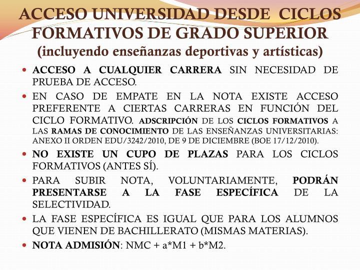 ACCESO UNIVERSIDAD DESDE  CICLOS FORMATIVOS DE GRADO SUPERIOR