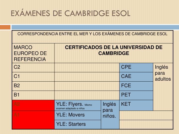 EXÁMENES DE CAMBRIDGE ESOL