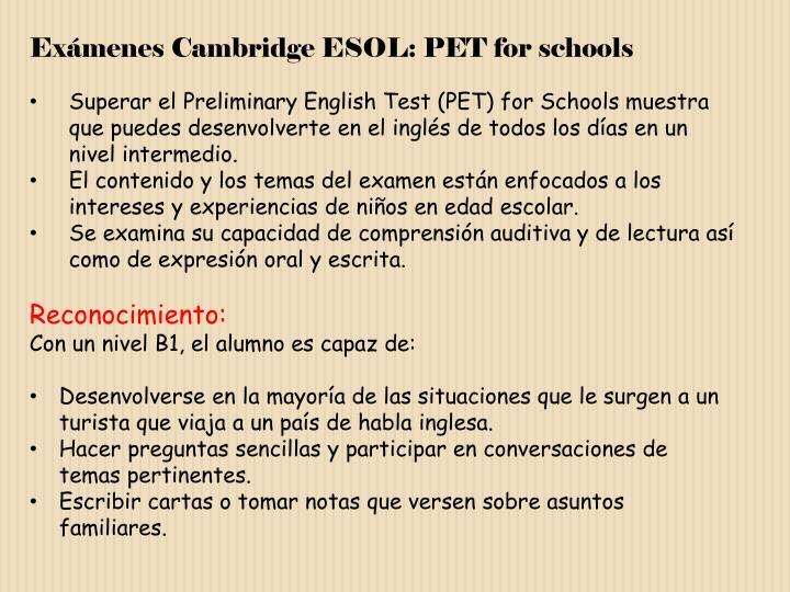 Exámenes Cambridge ESOL: