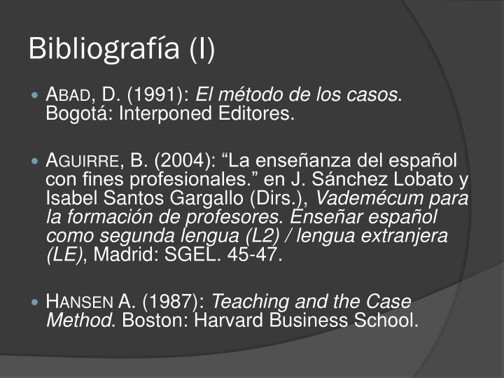 Bibliografía (I)