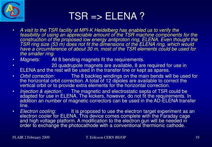 TSR => ELENA ?