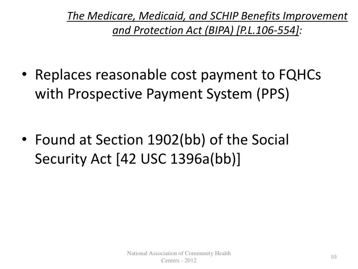 The Medicare, Medicaid, and SCHIP Benefits Improvement and Protection Act (BIPA) [P.L.106-554]