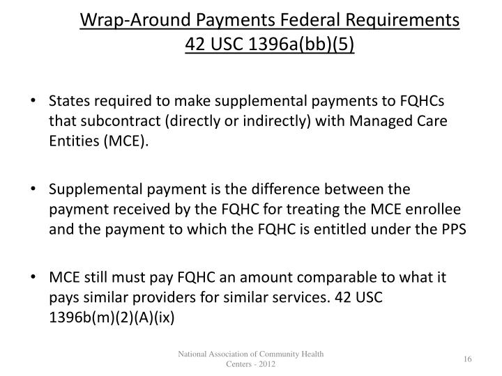 Wrap-Around Payments Federal Requirements 42 USC 1396a(bb)(5)