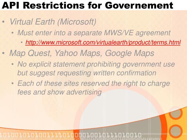 API Restrictions for Governement