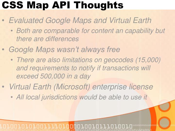 CSS Map API Thoughts
