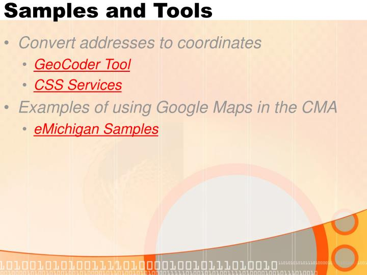 Samples and Tools