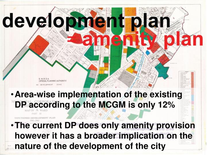Area-wise implementation of the existing DP according to the MCGM is only 12%