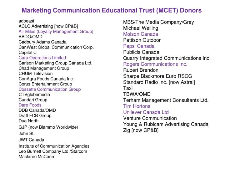 Marketing communication educational trust mcet donors