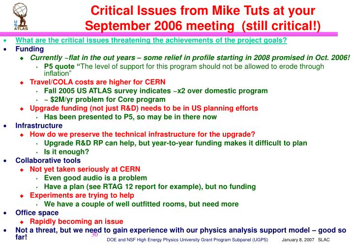 Critical Issues from Mike Tuts at your September 2006 meeting  (still critical!)