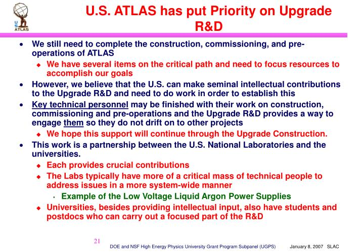 U.S. ATLAS has put Priority on Upgrade R&D