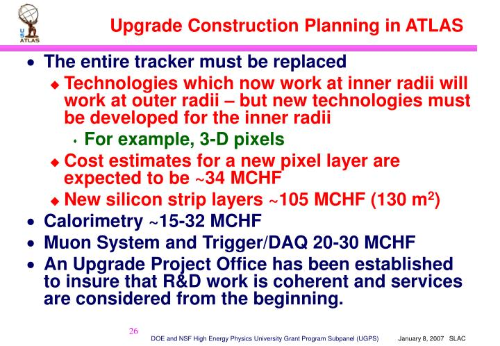 Upgrade Construction Planning in ATLAS