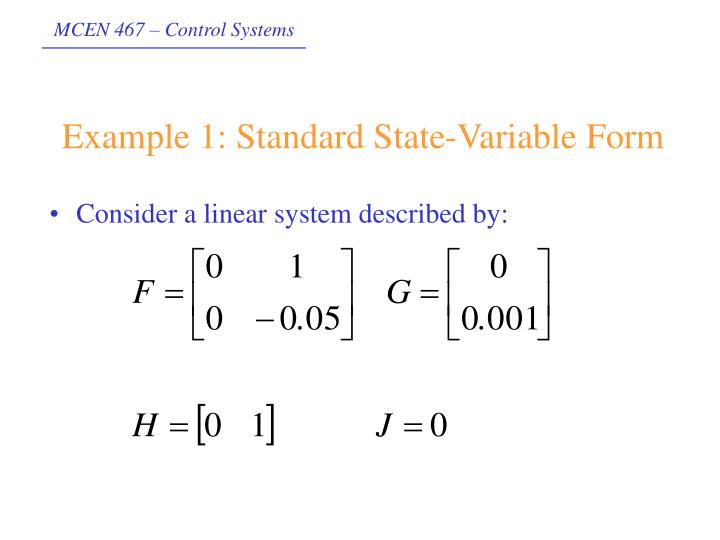Example 1: Standard State-Variable Form