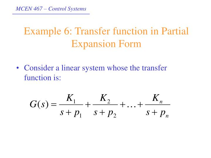 Example 6: Transfer function in Partial Expansion Form