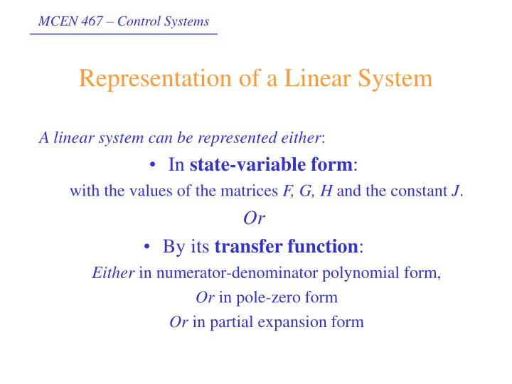 Representation of a linear system