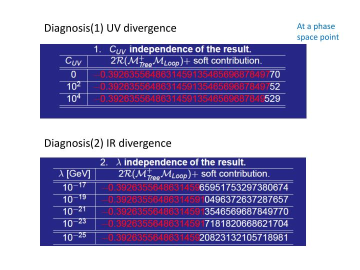 Diagnosis(1) UV divergence