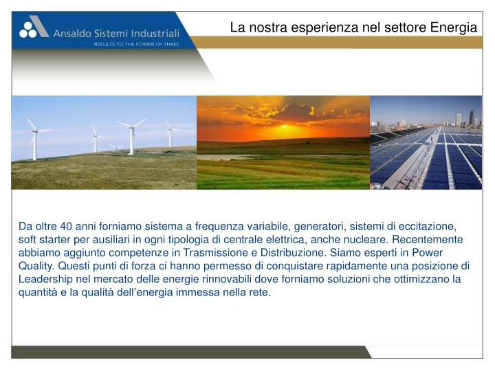 La nostra esperienza nel settore Energia