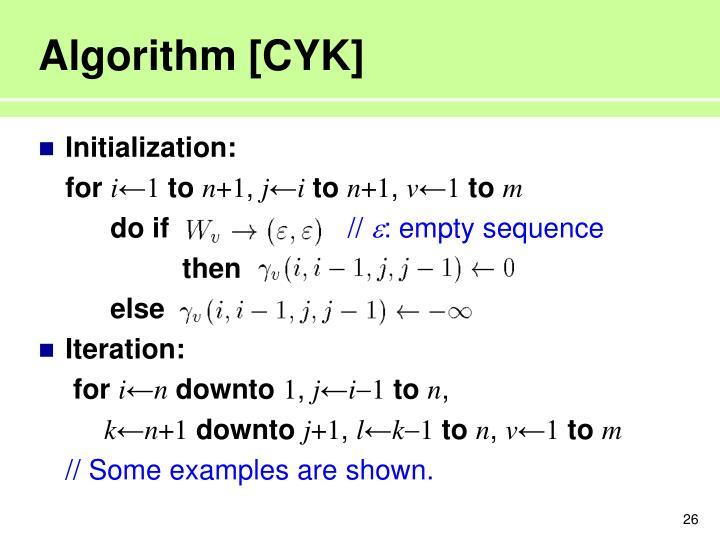 Algorithm [CYK]