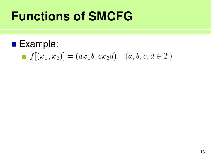 Functions of SMCFG