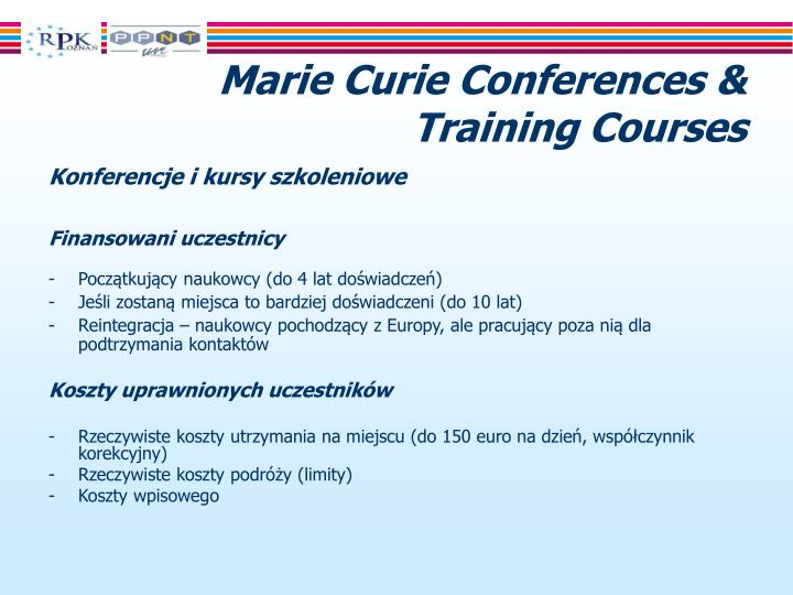 Marie Curie Conferences & Training Courses