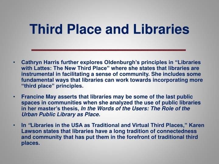 Third Place and Libraries