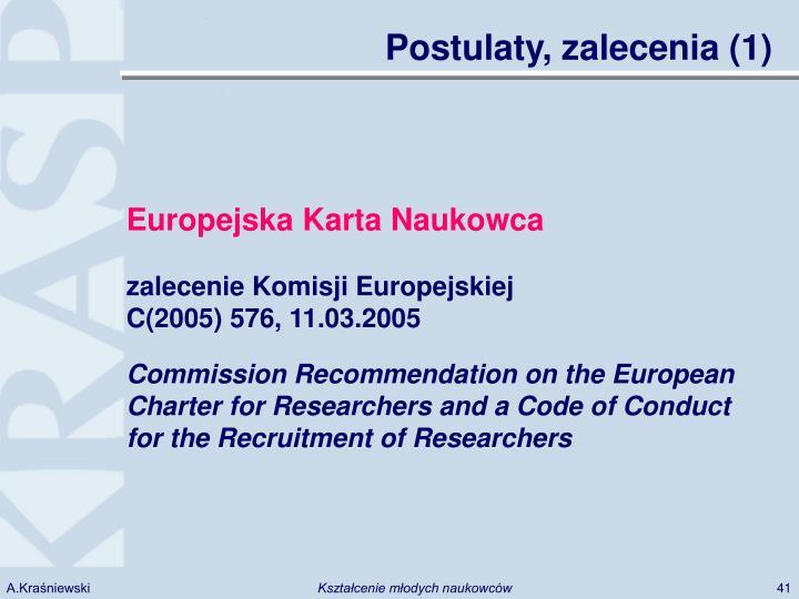 Postulaty, zalecenia (1)