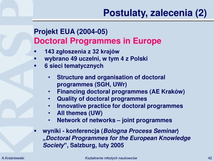 Postulaty, zalecenia (2)
