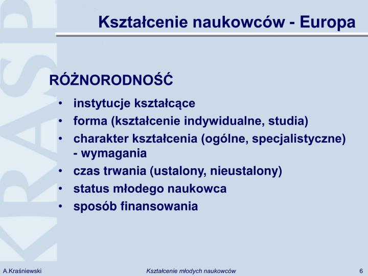 Kształcenie naukowców - Europa
