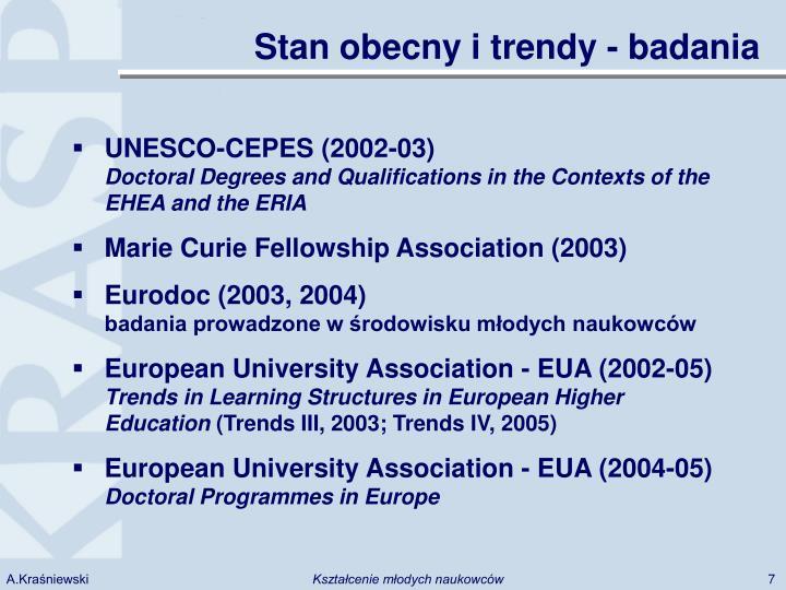 Stan obecny i trendy - badania