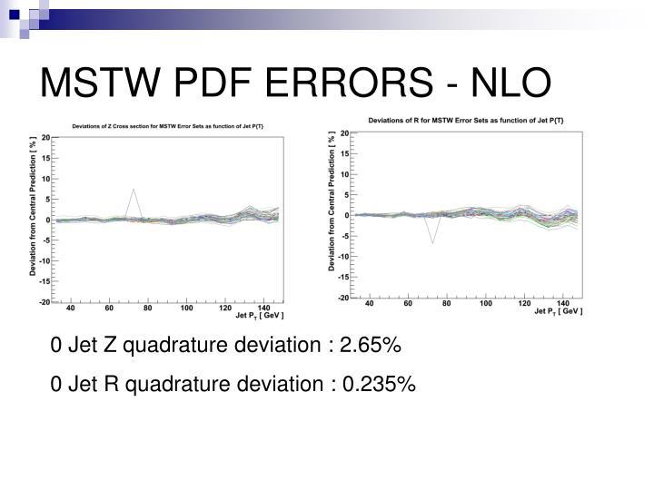 MSTW PDF ERRORS - NLO