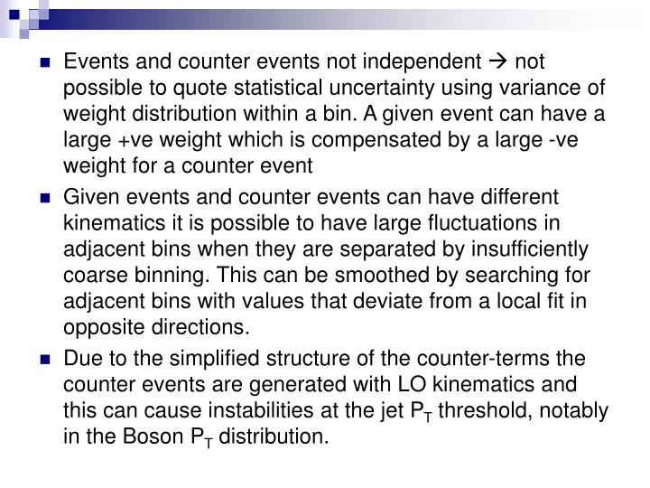 Events and counter events not independent