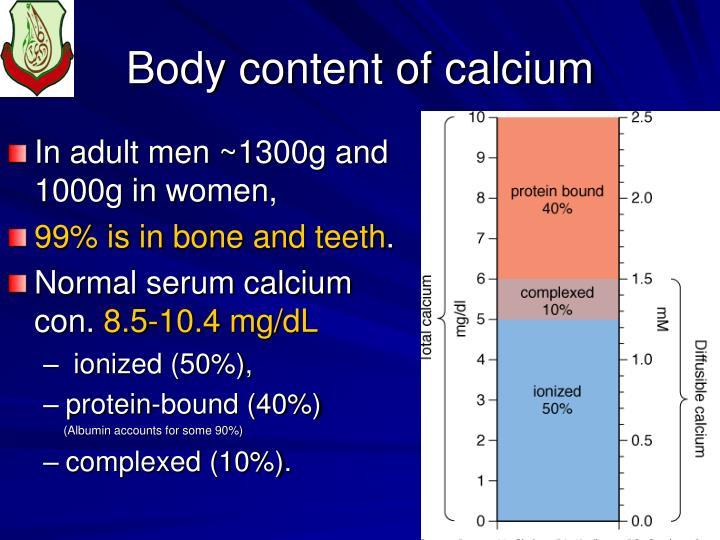 Body content of calcium