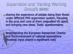 supervision and training working group s aims