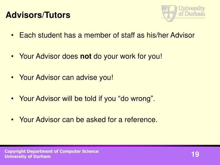 Advisors/Tutors