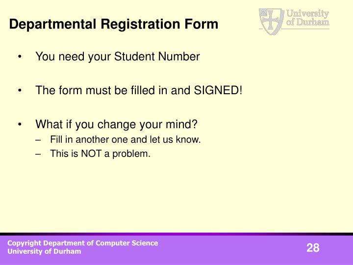 Departmental Registration Form