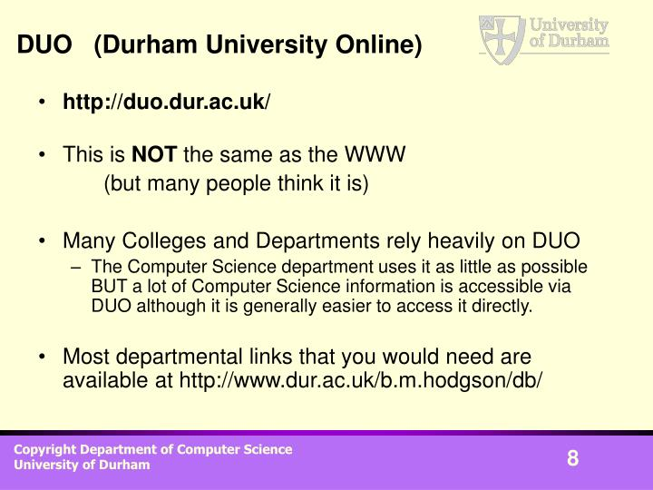DUO   (Durham University Online)