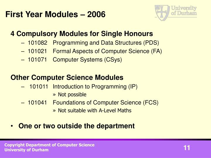 First Year Modules – 2006