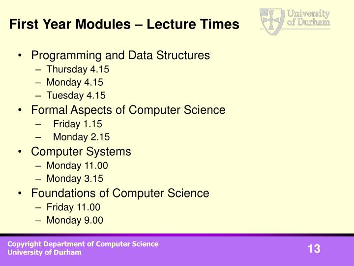 First Year Modules – Lecture Times