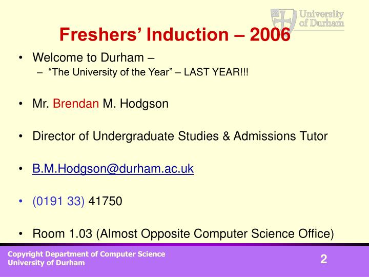 Freshers induction 2006