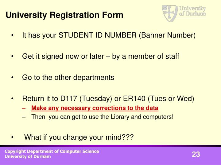 University Registration Form