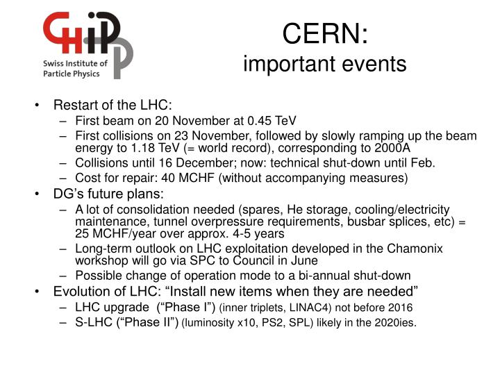 cern important events