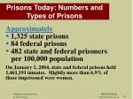 prisons today numbers and types of prisons