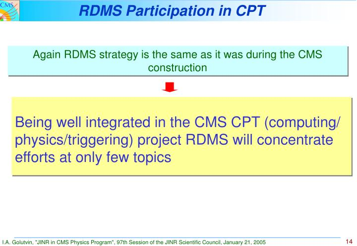 RDMS Participation in CPT