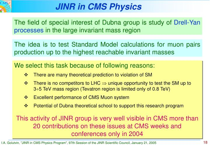 JINR in CMS Physics